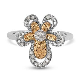 Diamond Floral Ring in Platinum and Yellow Gold Overlay Sterling Silver