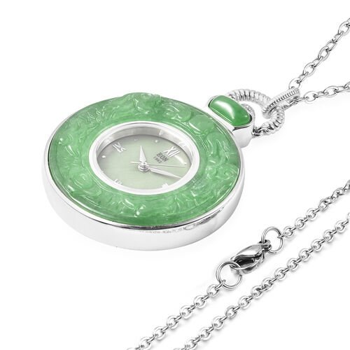 Green Jade Swiss Movement Watch with Chain (Size 32) in Rhodium Overlay Sterling Silver and Stainless Steel 62.00 Ct, Silver wt. 21.00 Gms