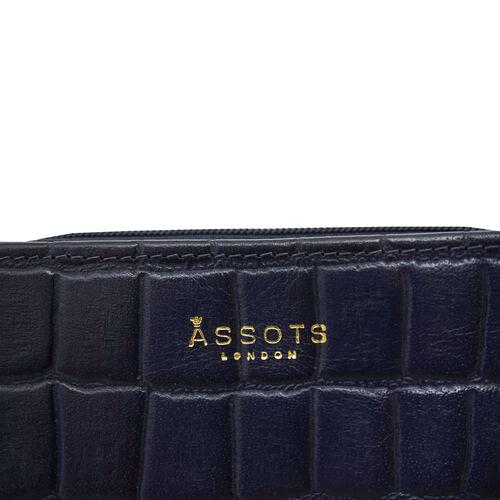 Assots London Croc Embossed Leather Zip Purse (Size 12x10cm) - Navy