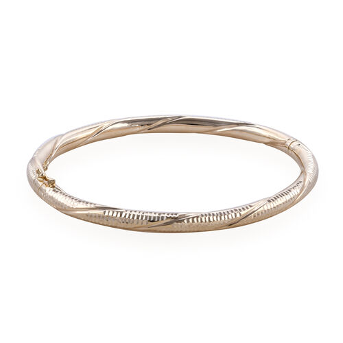Royal Bali Collection 9K Yellow Gold Diamond Cut Bangle (Size 7.5), Gold wt 8.08 Gms