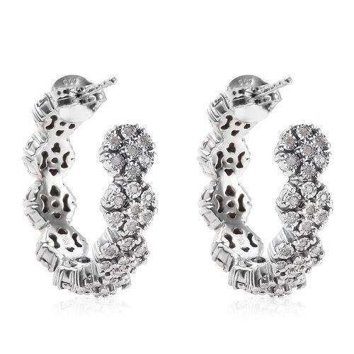 GP Diamond (Rnd), Blue Sapphire Hoop Earrings (with Push Back) in Platinum Overlay Sterling Silver