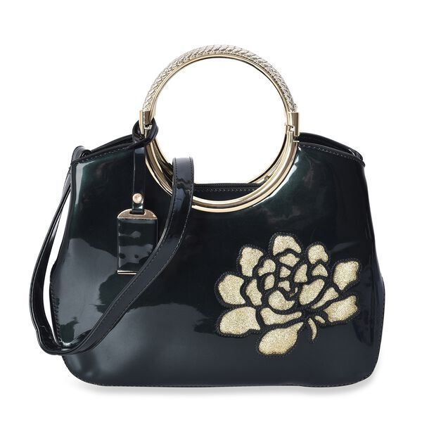 Glittering Rose Pattern Tote Bag with Round Metal Handle and Detachable Shoulder Strap (Size 32x23x8