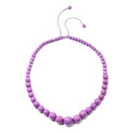 HONG KONG COLLECTION- Purple Howlite Graduated Adjustable Necklace (Size 18 -24)  287.000  Ct.