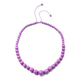 18 Inch Purple Howlite Beaded Necklace 287 Ct