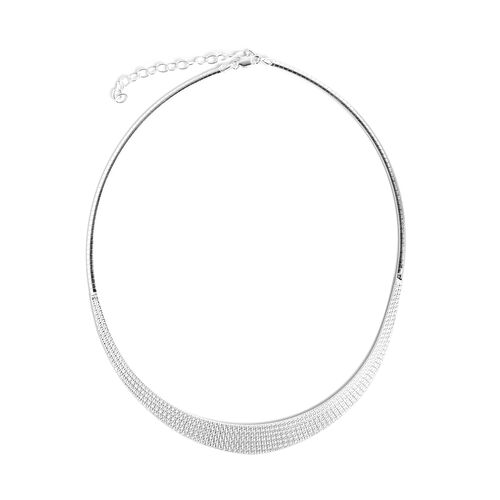Italian Rhodium Overlay Sterling Silver Cleopatra Necklace (Size 17 and 2.5 Extender), Silver wt 16.56 Gms.