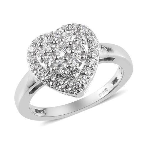 J Francis - Platinum Overlay Sterling Silver Heart Cluster Ring Made with SWAROVSKI ZIRCONIA