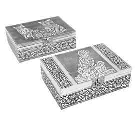 Set of 2 - Cat & Dog Embossed Jewellery Storage Box with Wine Red Velvet Lining (Size 17.7x12.7x5.08