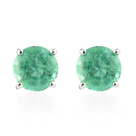 Signature Collection - RHAPSODY 950 Platinum AAAA Kagem Zambian Emerald (Rnd) Stud Earrings (with Sc