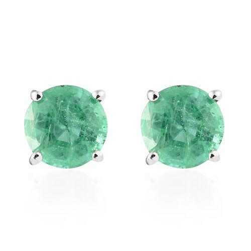 RHAPSODY 1.6 Ct AAAA Zambian Emerald Solitaire Stud Earrings in 950 Platinum 1.97 Grams