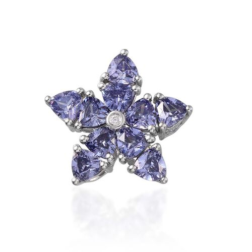 AAA Simulated Tanzanite (Trl), Simulated White Diamond Floral Pendant in Platinum Overlay Sterling Silver