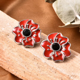 TJC Poppy Design - Black Austrian Crystal Enamelled Poppy Stud Earrings (with Push Back) in Silver T