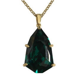 J Francis Emerald Colour Crystal From Swarovski Solitaire Pendant with Chain in Gold Plated Sterling