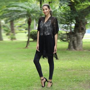 JOVIE Lace Kimono With Tassel Detailing - Black