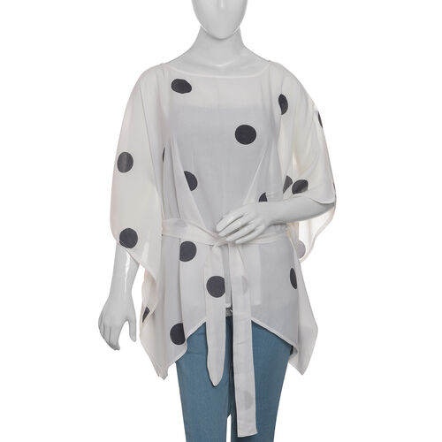 Designer Inspired- Limited Available- 100% Modal - White and Black Colour Dots Pattern Top/Kaftan (F