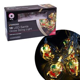 10 LED Santa Bauble String Lights (Size 40cm) - Warm White