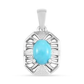 Arizona Sleeping Beauty Turquoise Pendant in Platinum Overlay Sterling Silver 1.30 Ct.