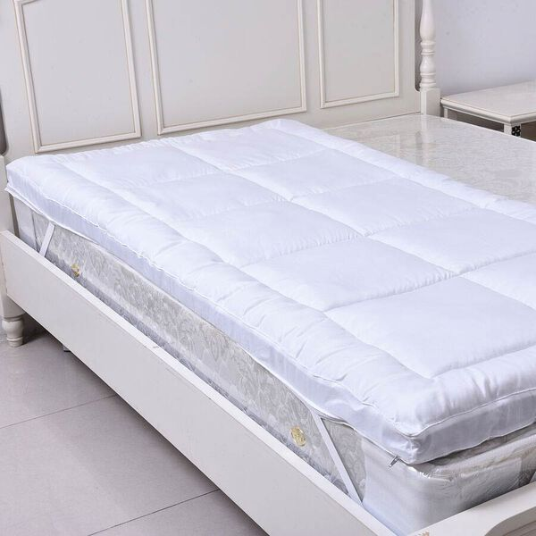 5 Zone 2 in 1 Hybrid Mattress Topper with Shungite Infused Memory Foam & Down Alternative Cover Size Single - White