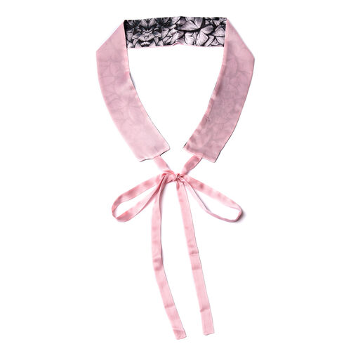 Butterfly Pattern 100% Mulberry Silk Satin Belt (Size 260 Cm) - Pink and Black