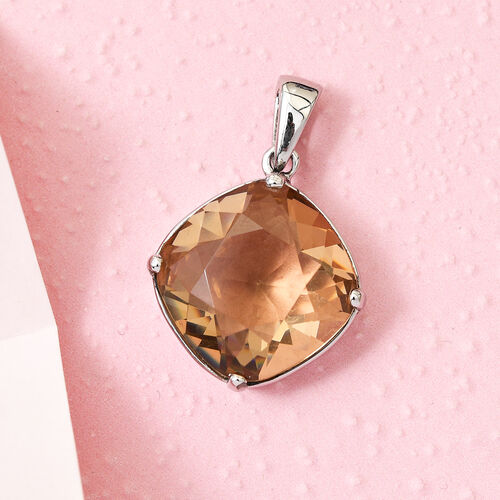J Francis Crystal from Swarovski Light Colorado Topaz Crystal Solitaire Pendant in Stainless Steel