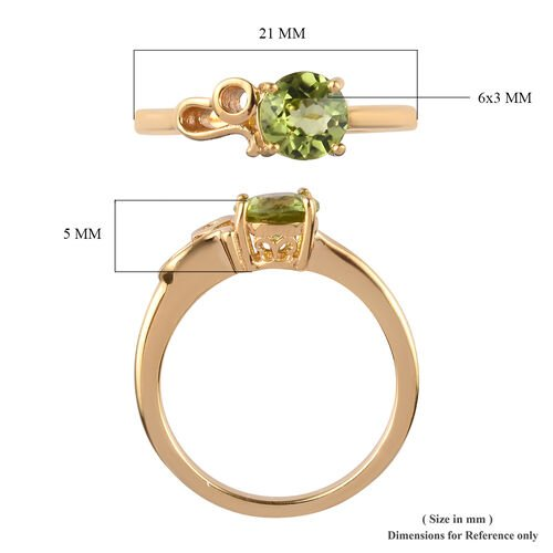 AA Hebei Peridot Zodiac-Leo Ring in 14K Gold Overlay Sterling Silver 0.83 Ct.