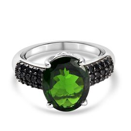 Russian Diopside, Black Spinel Main Stone With Side Stone Ring in Platinum Overlay Sterling Silver 0