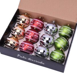 12 Pieces of Christmas Tree Decoration Balls in Gift Box - Red