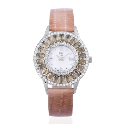 EON 1962 Swiss Movement MOP Dial Citrine (4.03 Ct) and Simulated White Diamond Studded 3ATM Water Resistant Watch with Coffee Colour Leather Strap