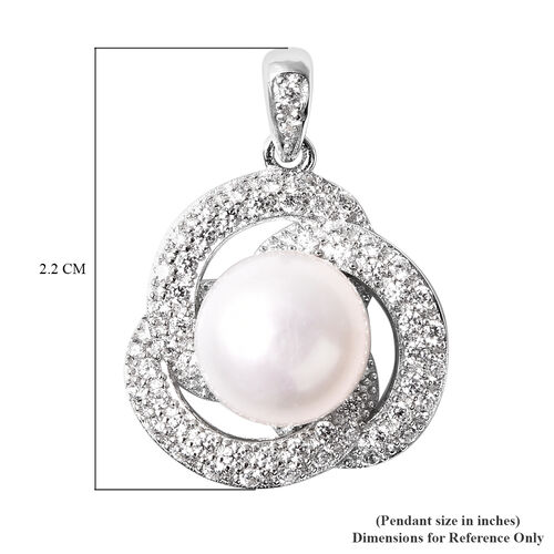 Freshwater White Pearl and Simulated Diamond Trinity Knot Inspired Pendant in Rhodium Overlay Sterling Silver