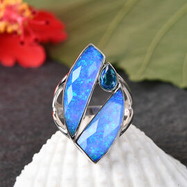 Sajan Silver ILLUMINATION Collection - Doublet Quartz, Opal and Pariba Ring in Rhodium Overlay Sterling Silver 10.12 ct,  Sliver Wt. 5 Gms.
