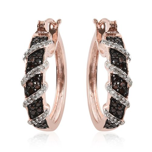 Red Diamond (Rnd), Diamond Hoop Earrings (with Clasp Lock) in Rose Gold Overlay with Black Plating Sterling Silver 0.500 Ct, Silver wt 6.19 Gms.