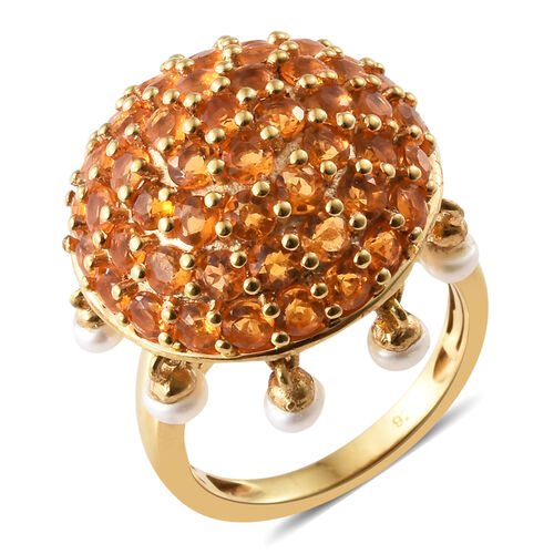 Jalisco Fire Opal (Rnd), Freshwater Pearl Cluster Ring in 14K Gold Overlay Sterling Silver 3.750  Ct
