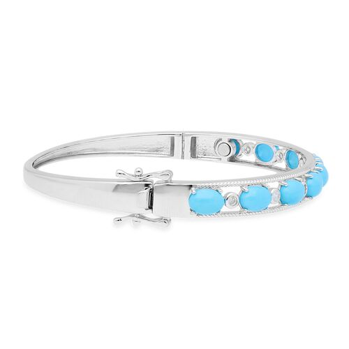 Arizona Sleeping Beauty Turquoise (Ovl), Natural Cambodian Zircon Magnetic Bangle (Size 7.5) in Rhodium Overlay Sterling Silver 7.07 Ct, Silver wt 17.00 Gms