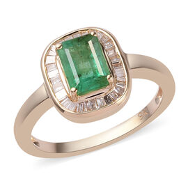 9K Yellow Gold Kagem Zambian Emerald and Diamond Ring  1.15 Ct.