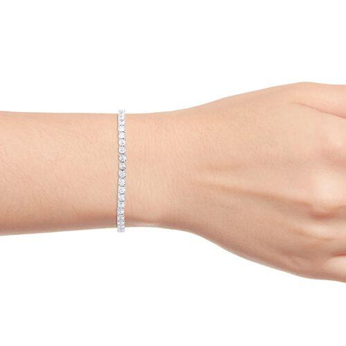Simulated Diamond Tennis Bracelet (Size 8) in Silver Tone