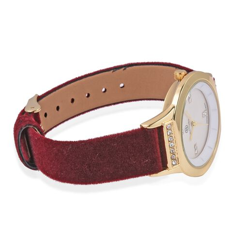 New Season-STRADA Japanese Movement White Austrian Crystal Studded Water Resistant Watch in Gold Tone with Wine Red Velvet Strap