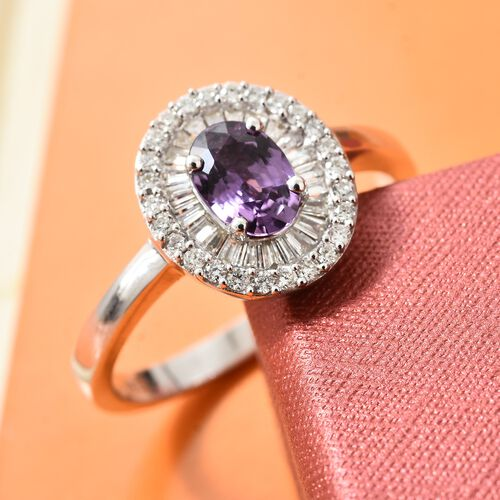 Signature Collection ILIANA 18K White Gold UnHeated Natural Purple Sapphire (Ovl), Diamond (SI/G-H) Ring 1.250 Ct.