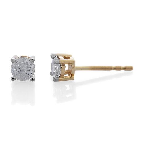 9K Yellow Gold SGL Certified Diamond (Rnd) (I3/G-H) Stud Earrings 0.400 Ct.