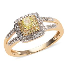 9K Yellow Gold Diamond (Rnd), Natural Yellow Diamond Ring  0.50 Ct.