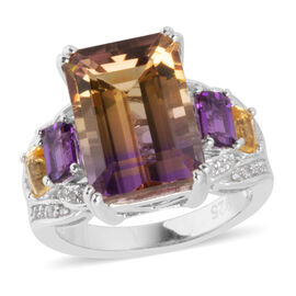 8.4 Ct Ametrine and Amethyst with Multi Gemstones Cocktail Ring in Sterling Silver 6 Grams