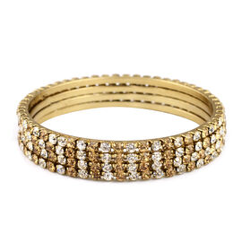 4 Piece Set Light Brown Austrian Crystal Stacker Bangle in Gold Tone 7.75 Inch