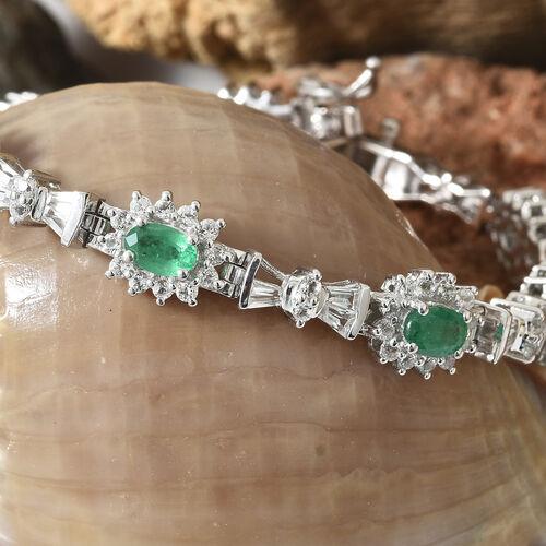 Kagem Zambian Emerald (Ovl), White Topaz Halo Bracelet (Size 7.5) in Platinum Overlay Sterling Silver 8.500 Ct, Silver wt 14.04 Gms, Number of Gemstone 152