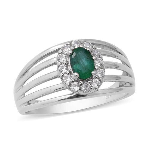 0.87 Ct Kagem Zambian Emerald and Zircon Halo Ring in Rhodium Plated Sterling Silver