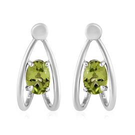Chinese Peridot (1.65 Ct) Platinum Overlay Sterling Silver Earring  1.500  Ct.