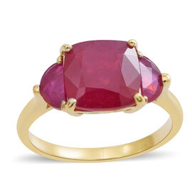9K Yellow Gold AAA Rare Size African Ruby (Cush 10x10 mm) Ring 7.350 Ct.