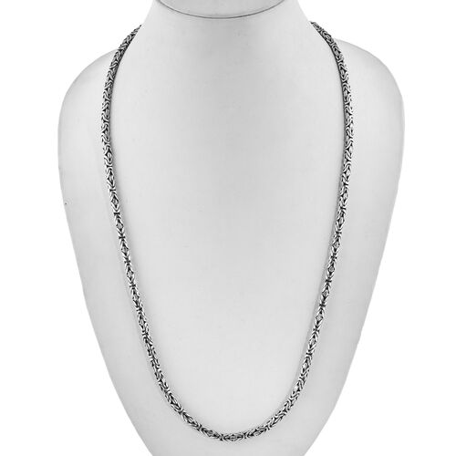 (Option 1) Royal Bali Collection Sterling Silver Borobudur Chain Necklace (Size 26), Silver wt 64.20 Gms