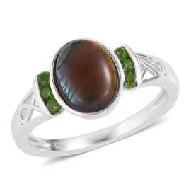 AA Canadian Ammolite (Ovl 9x7mm), Russian Diopside Ring in Rhodium Plated Sterling Silver 1.800 Ct.