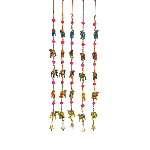 Set of 5 - Handmade and Handpainted Camel Motif Decorative Hanging Strings (Size 86x5 Cm) - Multicolour