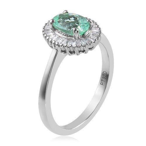 RHAPSODY 950 Platinum AAAA Mozambique Paraiba Tourmaline (Ovl 7x5mm), Diamond (VS/E-F) Ring 1.00 Ct.