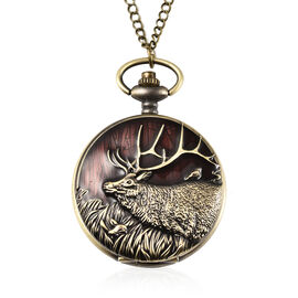 STRADA Japanese Movement Deer Pattern Water Resistant Wine Red Enamelled Pocket Watch with Chain (Si