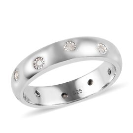MP Designer Inspired- Flush Setting Diamond (Rnd) Band Ring in Platinum Overlay Sterling Silver